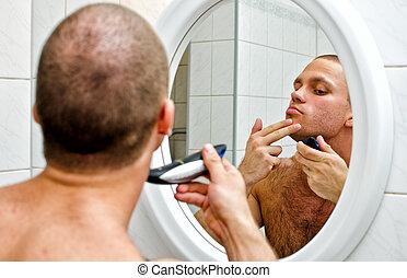 マレ, ひげそり, 中に, 浴室, の前, ∥, 鏡。
