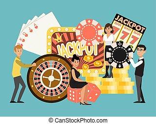 マレ, カジノ, プレーしなさい, 家, ギャンブル, 隔離された, 人々, ベクトル, ごく小さい, chance...