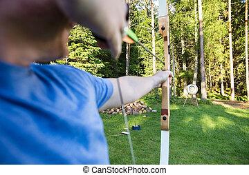マレ, ターゲット, 運動選手, 森林, 矢, 狙いを定める, 板