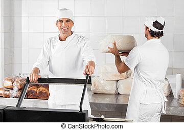 マレ, パン屋, 使うこと, 真空, シール, 機械, 中に, パン屋