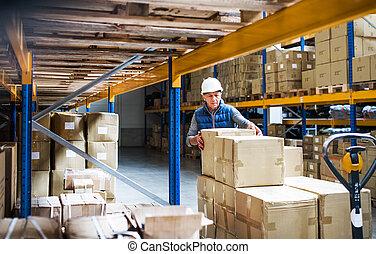 マレ, 労働者, パレット, 箱, 倉庫, シニア, truck., 荷を下すこと