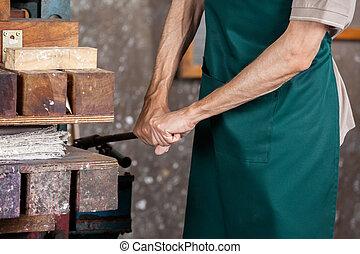 マレ, 労働者, 使うこと, ペーパー, 出版物, 機械