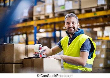 マレ, 労働者, boxes., 倉庫, シーリング, ボール紙