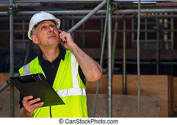マレ, 建物サイト, 心配した, 使うこと, 建築者, 電話, 建築業者, 建築家