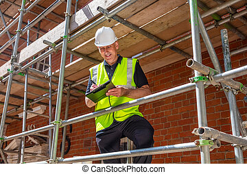 マレ, 建設, 建物サイト, 建築者, 労働者, 建築業者, クリップボード
