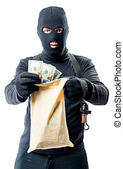マレ, 強盗, 中に, 丈いっぱいに, ある, 保有物袋, ∥で∥, お金, 白, 背景