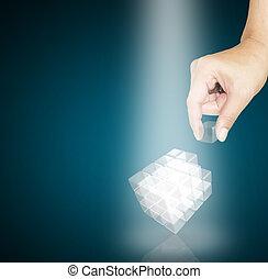 マレ, 手, 一突き, a, 小片, の, ガラス, 立方体