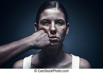 マレ, 握りこぶし, に対して, 誘拐された, 若い女性, 中に, ∥, 背景