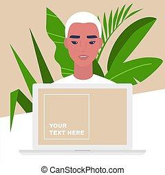 マレ, 特徴, 若い, オンラインで, サービス, スペース, コンピュータ, テンプレート, 肖像画, アジア人, 助手, コピー, 個人的, モニター