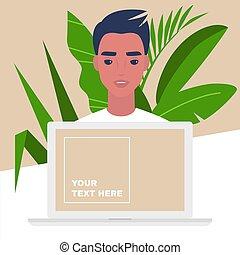 マレ, 特徴, 若い, オンラインで, サービス, スペース, コンピュータ, テンプレート, 肖像画, コピー, 助手, 個人的, モニター
