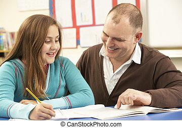 マレ, 生徒, 勉強, 中に, 教室, ∥で∥, 教師