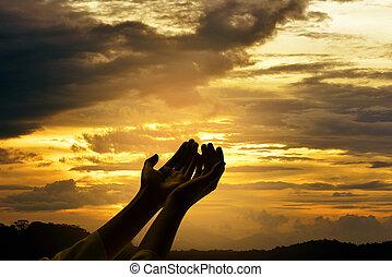 マレ, 神, やし, 手, 祈ること, 開いた