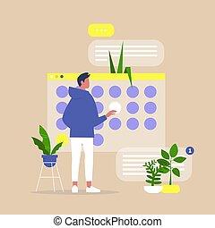 マレ, 計画, オフィス, プロジェクト, プロセス, 若い, 期限, 仕事, デジタル, カレンダー, 組織化する, ...