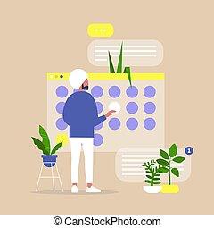 マレ, indian, 計画, オフィス, プロジェクト, プロセス, 若い, 期限, 仕事, デジタル, カレンダー...