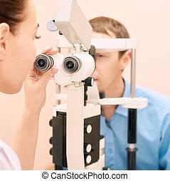 マレ, patient., 目, 実験室, 医者, 試験, メガネ屋, 眼科医, 男性