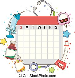 マンスリー, カレンダー, 点検, イラスト, の上