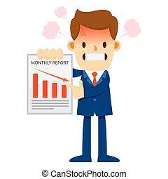 マンスリー, 怒る, 販売 レポート, ビジネスマン, 提示, 低下