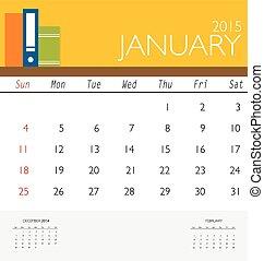 マンスリー, 病気, january., カレンダー, ベクトル, テンプレート, 2015, カレンダー