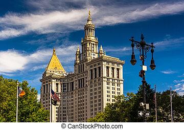 ∥, マンハッタン, 市の, 建物, 中に, マンハッタン, 新しい, york.