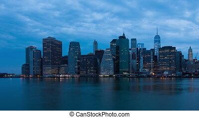 マンハッタン, timelapse, 日の出, 4k