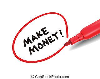 マーカー, お金, 作りなさい, 赤, 言葉