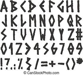 マーカー, アルファベット, スタイル, ギリシャ語
