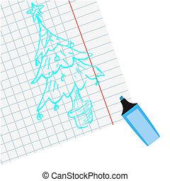 マーカー, ペイントされた, 青, クリスマスツリー, 上に, ノート, シート