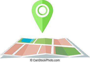 マーカー, 地図, 緑, 平ら