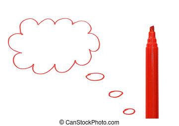 マーカー, 引かれる, 雲, 赤