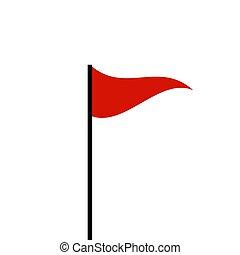 マーカー, 旗, シンボル, 赤, アイコン
