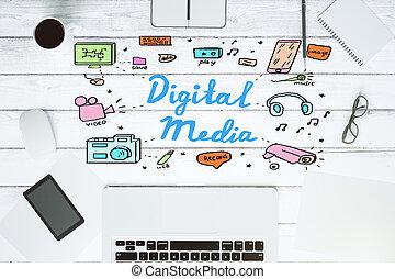 マーケティング, スケッチ, デジタル, 白, デスクトップ