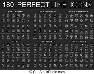 マーケティング, セキュリティー, 薄くなりなさい, 現代, 人間, 背景, 線, set., 生産性, アイコン, cyber, seo, 黒, 技術, デジタル, ネットワーク, development., 暗い, optimization, 網, 180