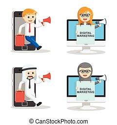 マーケティング, セット, 人々ビジネス, デジタル