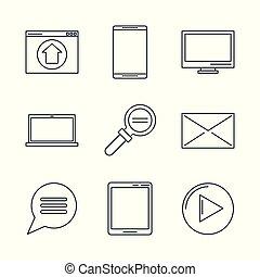 マーケティング, デジタル, アイコン