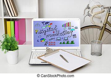 マーケティング, ラップトップ・コンピュータ, website's, デジタル