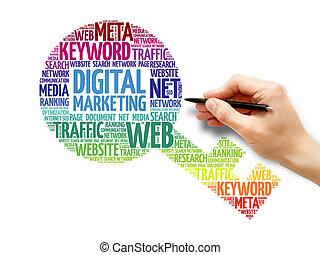 マーケティング, 単語, キー, 雲, デジタル