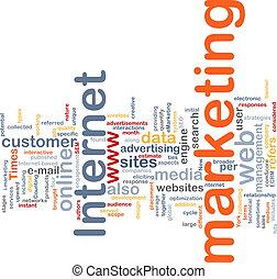 マーケティング, 単語, 雲, インターネット