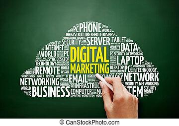 マーケティング, 単語, 雲, デジタル