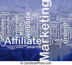 マーケティング, 単語, affiliate, 雲