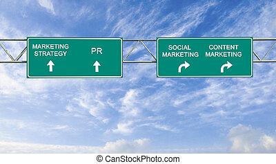 マーケティング, 印, 道, デジタル