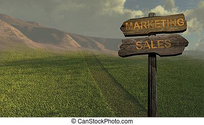 マーケティング, 方向, -, 販売, 印