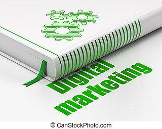 マーケティング, 本, 広告, 背景, デジタル, ギヤ, 白, concept: