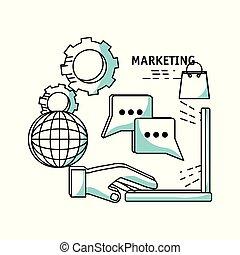 マーケティング, 線, 計画, デジタルの媒体