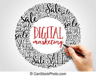 マーケティング, 言葉, 雲, デジタル