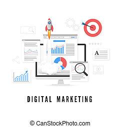マーケティング, concept., イラスト, ベクトル, analysis., デジタル, seo, データ, promotion.