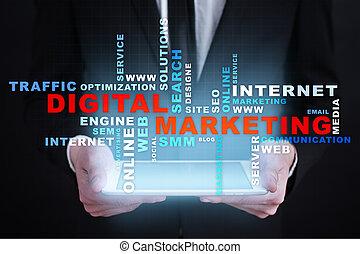 マーケティング, concept., 言葉, デジタル, advertising., smm., online., seo., 技術, 雲