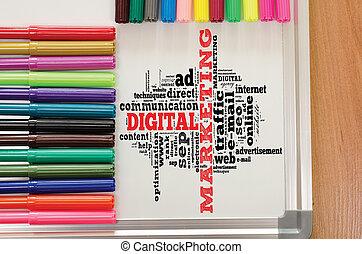 マーケティング, whiteboard, 単語, 雲, デジタル
