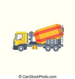 ミキサー, コンクリート, トラック, イラスト, サイド光景