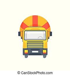 ミキサー, コンクリート, トラック, イラスト, 正面図