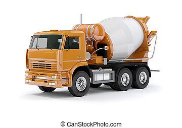 ミキサー, コンクリート, トラック, 背景, 白, 3d